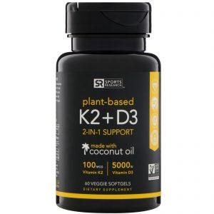 Sports Research, Vitamina K2 + D3, 100 mcg / 5000 UI, 60 Softgels Vegetarianos   Comprar Suplemento em Promoção Site Barato e Bom