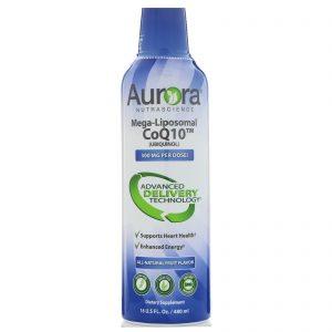 Aurora Nutrascience, CoQ10 megalipossômico, sabor a frutos naturais, 300 mg, 16 onças (480 ml)   Comprar Suplemento em Promoção Site Barato e Bom