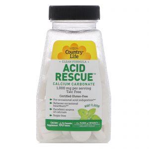 Country Life, Socorro para a Acidez, Carbonato de Cálcio, Sabor Menta, 1.000 mg, 60 Comprimidos Mastigáveis   Comprar Suplemento em Promoção Site Barato e Bom