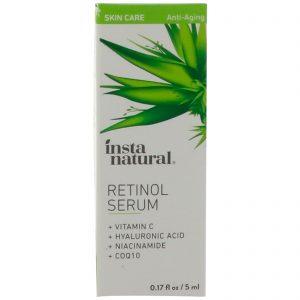 InstaNatural, Sérum de Retinol com Ácido Hialurônico + Vitamina C, Anti-Idade, 5 ml (0,17 fl oz)   Comprar Suplemento em Promoção Site Barato e Bom