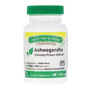 Health Thru Nutrition, Ashwagandha, 500 mg, 90 VegeCaps   Comprar Suplemento em Promoção Site Barato e Bom