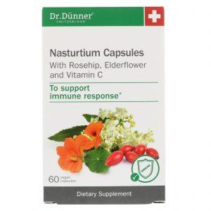 Dr. Dunner, USA, Cápsulas de Agrião, Com Quadril de Rosa, Flor de Sabugueiro e Vitamina C, 60 Cápsulas Veganas   Comprar Suplemento em Promoção Site Barato e Bom