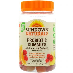 Sundown Naturals, Probiotic Gummies, 4 Billion Live Cultures, 60 Gummies   Comprar Suplemento em Promoção Site Barato e Bom