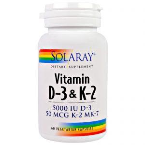 Solaray, Vitamina D3 e K2, 5000 UI, 60 cápsulas vegetais   Comprar Suplemento em Promoção Site Barato e Bom