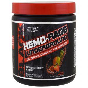 Nutrex Research Labs, Série Preta, Estimulante Pré-Treino Hemo-Rage Underground, Ponche de Frutas, 8,6 oz (243 g)   Comprar Suplemento em Promoção Site Barato e Bom