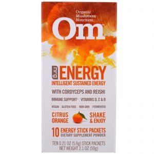 Organic Mushroom Nutrition, Energia, Pó de Cogumelo, Laranja, 10 Pacotes, 5.9 g Cada   Comprar Suplemento em Promoção Site Barato e Bom