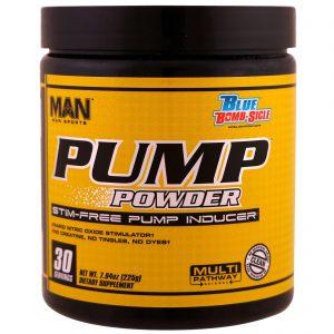 MAN Sports, Pump Powder, Stim-Free Pump Inducer,Blue Bomb-Sicle, 7.94 oz (225 g)   Comprar Suplemento em Promoção Site Barato e Bom