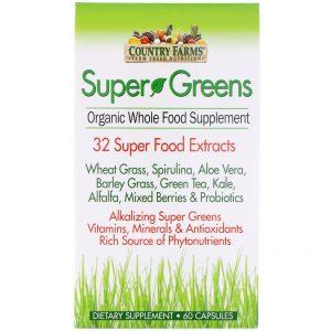 Country Farms, Super Greens, suplemento orgânico de alimentos integrais, 60 cápsulas   Comprar Suplemento em Promoção Site Barato e Bom