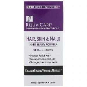 Rejuvicare, Hair, Skin & Nails, Inner Beauty Formula, 5000 mcg of Biotin, 30 Caples   Comprar Suplemento em Promoção Site Barato e Bom