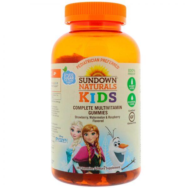Sundown Naturals Kids, Gomas Multivitamínicas Completas, Frozen da Disney, Sabores Morango, Melancia e Framboesa, 180 Gomas   Comprar Suplemento em Promoção Site Barato e Bom