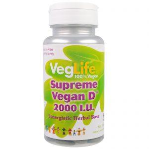 VegLife, Vitamina D Vegana Suprema, 2000 UI, 100 comprimidos   Comprar Suplemento em Promoção Site Barato e Bom