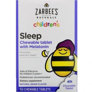 Zarbee's, Tablete mastigável de sono infantil com melatonina, sabor a uvas naturais, 50 comprimidos mastigáveis   Comprar Suplemento em Promoção Site Barato e Bom