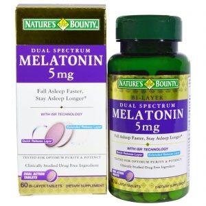 Nature's Bounty, Espectro Dual, Melatonina, 5 mg, 60 Comprimidos Duplamente Revestidos   Comprar Suplemento em Promoção Site Barato e Bom