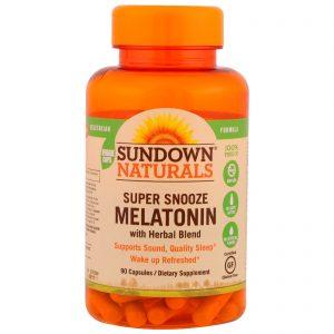 Sundown Naturals, Super Snooze Melatonin, 90 Cápsulas   Comprar Suplemento em Promoção Site Barato e Bom