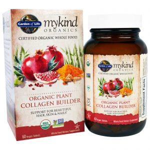 Garden of Life, MyKind Organics, Construtor de Colágeno Vegetal Orgânico, 60 Comprimidos Veganos   Comprar Suplemento em Promoção Site Barato e Bom