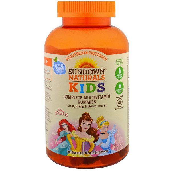Sundown Naturals Kids, Crianças, Gomas Multivitamínicas Completas, Princesas da Disney, Uva, Laranja e Cereja, 180 Gomas   Comprar Suplemento em Promoção Site Barato e Bom