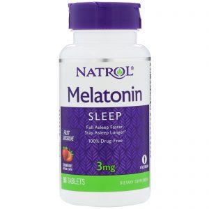 Natrol, Melatonina, dissolução rápida, sabor morango, 3 mg, 90 comprimidos   Comprar Suplemento em Promoção Site Barato e Bom