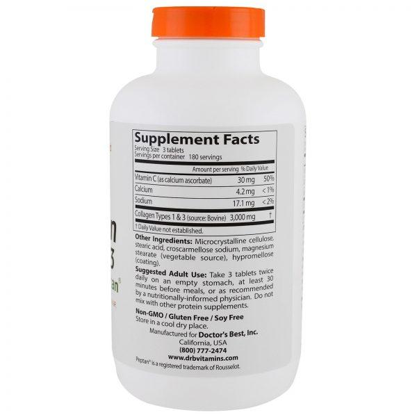 Doctor's Best, Melhor Colágeno Tipos 1 e 3 com Peptano, 1000 mg, 540 Comprimidos   Comprar Suplemento em Promoção Site Barato e Bom