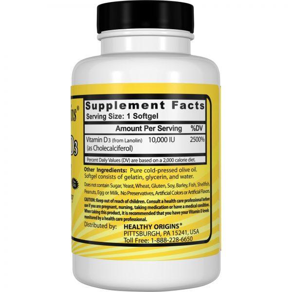 Healthy Origins, Vitamin D3, 10,000 IU, 120 Cápsulas Moles   Comprar Suplemento em Promoção Site Barato e Bom