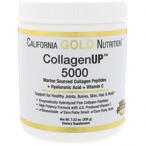 California Gold Nutrition, Colágeno UP 5000, Peptídeos de Colágeno com Origem Marinha + Ácido Hialurônico + Vitamina C, 7.23 oz (205 g)   Comprar Suplemento em Promoção Site Barato e Bom