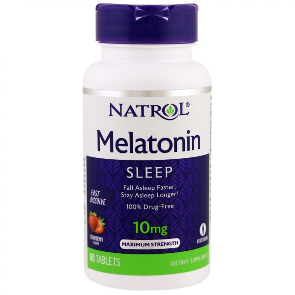 Natrol, Melatonin, Sleep, Maximum Strength, Strawberry, 10 mg, 60 Tablets   Comprar Suplemento em Promoção Site Barato e Bom