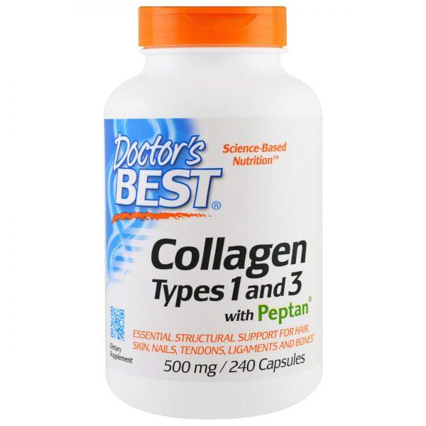 Doctor's Best, Colágeno, Tipos 1 e 3 com Peptan, 500 mg, 240 Cápsulas   Comprar Suplemento em Promoção Site Barato e Bom