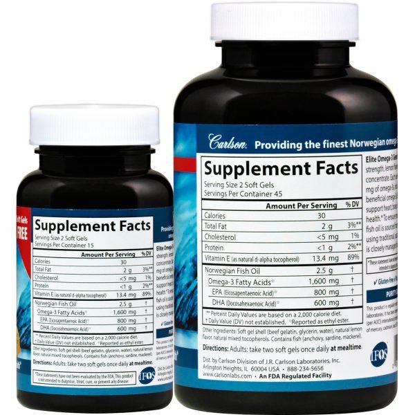 Carlson Labs, Pescados Selvagens, Elite Omega-3 Gems, Sabor Natural de Limão, 1600 mg, 90 + 30 Cápsulas de Softgel   Comprar Suplemento em Promoção Site Barato e Bom