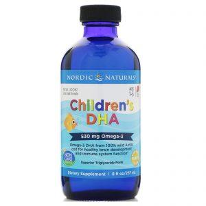 Nordic Naturals, DHA (ácido docosa-hexaenoico) para crianças, morango, 530 mg, 8 onças (237 ml)   Comprar Suplemento em Promoção Site Barato e Bom