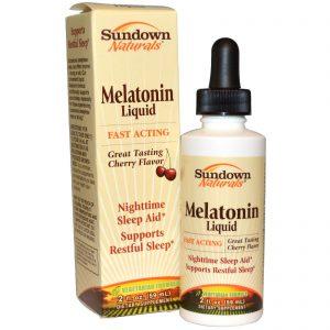 Sundown Naturals, Melatonina Líquida, Sabor Cereja, 2 fl oz (59 ml)   Comprar Suplemento em Promoção Site Barato e Bom