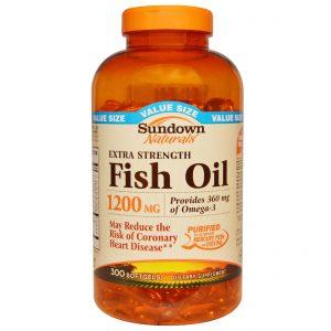 Sundown Naturals, Resistência Extra, Óleo de Peixe, 1200 mg, 300 Cápsulas Gelatinosas   Comprar Suplemento em Promoção Site Barato e Bom