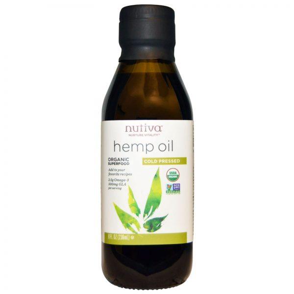 Nutiva, Óleo de Cânhamo Orgânico, Prensado a Frio, 8 fl oz (236 ml)   Comprar Suplemento em Promoção Site Barato e Bom