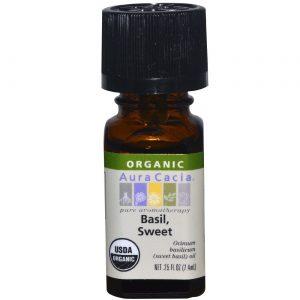 Aura Cacia Ess Oil OG2 Sweet Basil 0,25 onças   Comprar Suplemento em Promoção Site Barato e Bom