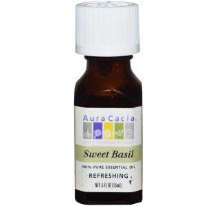 Aura Cacia Óleo Essencial Sweet Basil 0,5 onças   Comprar Suplemento em Promoção Site Barato e Bom