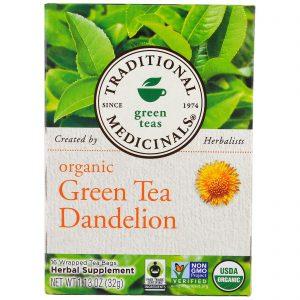 Traditional Medicinals, Chá Verde Orgânico Dente-de-Leão, Descafeinado, 16 Saquinhos de Chá Embalados, 1,13 oz (32 g)   Comprar Suplemento em Promoção Site Barato e Bom