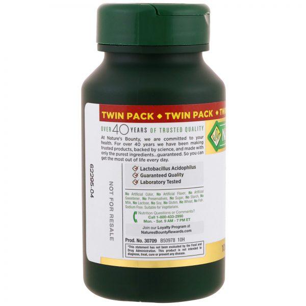 Nature's Bounty, Probiótico Acidophilus, Pacote duplo, 100 tabletes cada   Comprar Suplemento em Promoção Site Barato e Bom