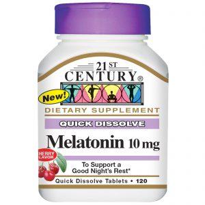 21st Century, Melatonina, sabor cereja, 10 mg, 120 tabletes rápida dissolução   Comprar Suplemento em Promoção Site Barato e Bom