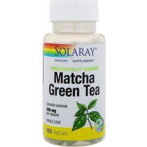 Solaray, Chá Verde Matcha Cultivado Organicamente, 300 mg, 100 Cápsulas Vegetais   Comprar Suplemento em Promoção Site Barato e Bom