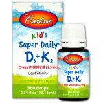 Carlson Labs, Kids, Super Daily D3+K2, 25 mcg (1,000 IU) & 22.5 mcg, 0.34 fl oz (10.16 ml)   Comprar Suplemento em Promoção Site Barato e Bom