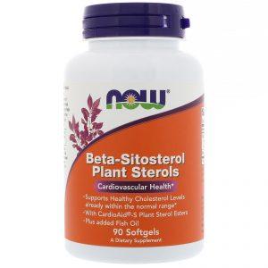 Now Foods, Beta-sitosterol esteróis vegetais, 90 Cápsulas Gelatinosas   Comprar Suplemento em Promoção Site Barato e Bom