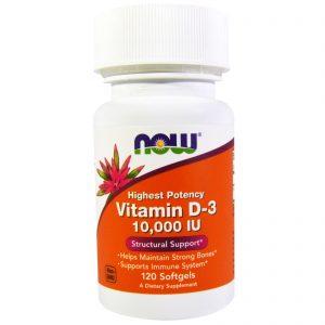 Now Foods, Vitamina D-3, 10.000 IU, 120 Softgels   Comprar Suplemento em Promoção Site Barato e Bom