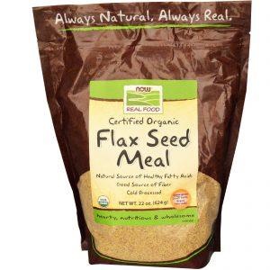 Now Foods, Real Food, Refeição de Sementes Orgânicas Certificadas de Linhaça 22 oz (624 g)   Comprar Suplemento em Promoção Site Barato e Bom