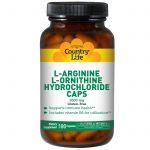 Country Life, Cápsulas de hidrocloreto L-Ornitina e L-Arginina, 1000 mg, 180 cápsulas   Comprar Suplemento em Promoção Site Barato e Bom