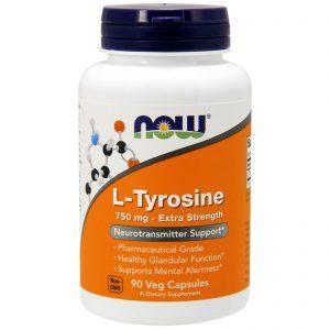 Now Foods, L-Tyrosine, Força Extra, 750 mg, 90 Comprimidos Vegetais   Comprar Suplemento em Promoção Site Barato e Bom
