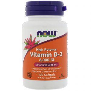 Now Foods, Vitamina D3 de alta potência, 2000 IU, 120 Cápsulas Gelatinosas   Comprar Suplemento em Promoção Site Barato e Bom