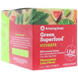 Amazing Grass, Green Superfood, Effervescent Greens Hydrate, Watermelon Lime Flavor, 6 Tubes, 10 Tablets Each   Comprar Suplemento em Promoção Site Barato e Bom