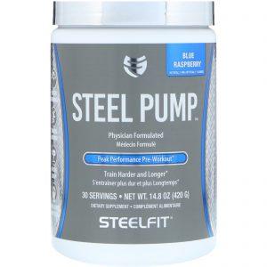 SteelFit USA, Steel Pump, Peak Performance Pre-Workout, Blue Raspberry, 14.8 oz (420 g)   Comprar Suplemento em Promoção Site Barato e Bom