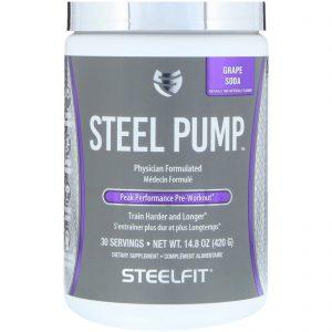 SteelFit USA, Steel Pump, Peak Performance Pre-Workout, Grape Soda, 14.8 oz (420 g)   Comprar Suplemento em Promoção Site Barato e Bom