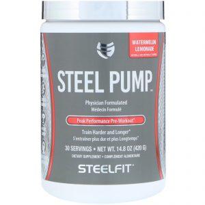 SteelFit USA, Steel Pump, Peak Performance Pre-Workout, Watermelon Lemonade, 14.8 oz (420 g)   Comprar Suplemento em Promoção Site Barato e Bom