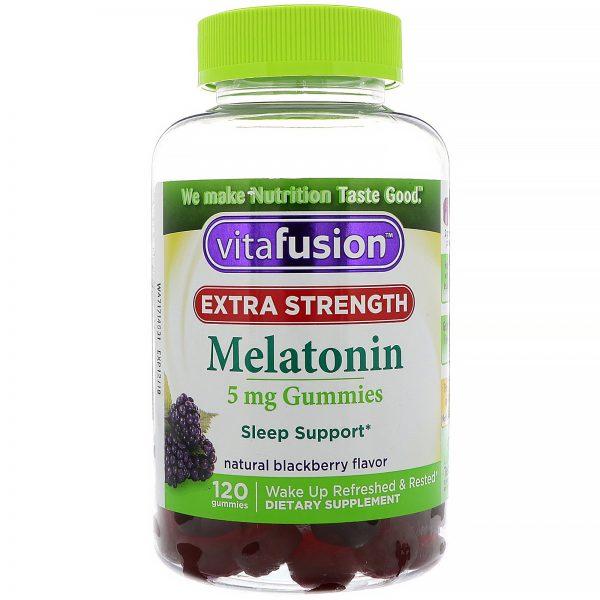 VitaFusion, Melatonina com Potência Extra, Sabor Natural de Amora, 5 mg, 120 Gomas   Comprar Suplemento em Promoção Site Barato e Bom