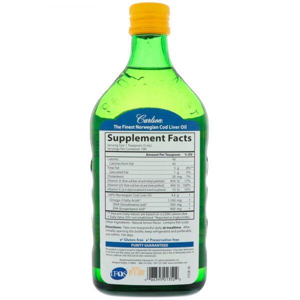 Carlson Labs, Óleo de Fígado de Bacalhau Norueguês Selvagem, Limão Natural, 500 ml   Comprar Suplemento em Promoção Site Barato e Bom
